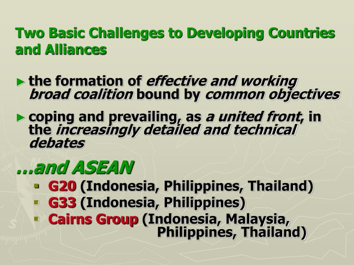 Two Basic Challenges to Developing Countries