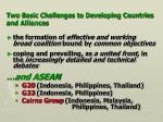 two basic challenges to developing countries and alliances