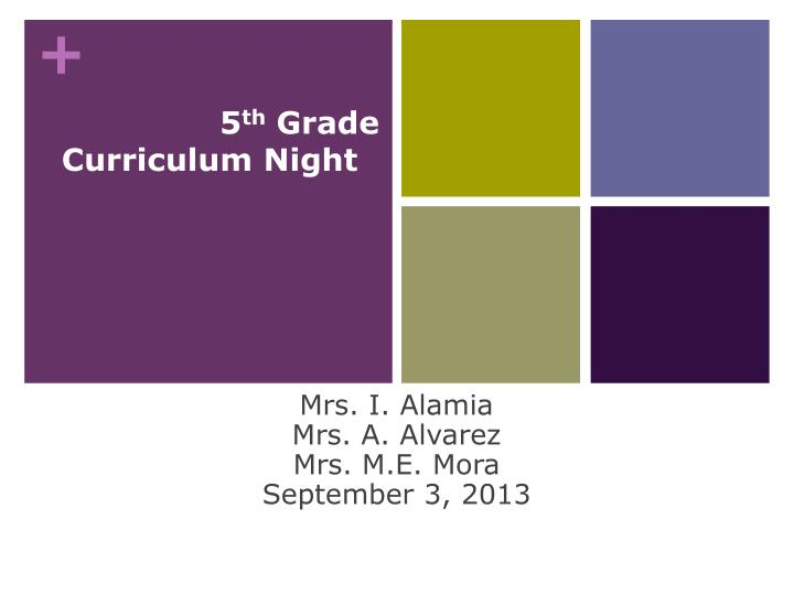 welcome 5 th grade curriculum night n.