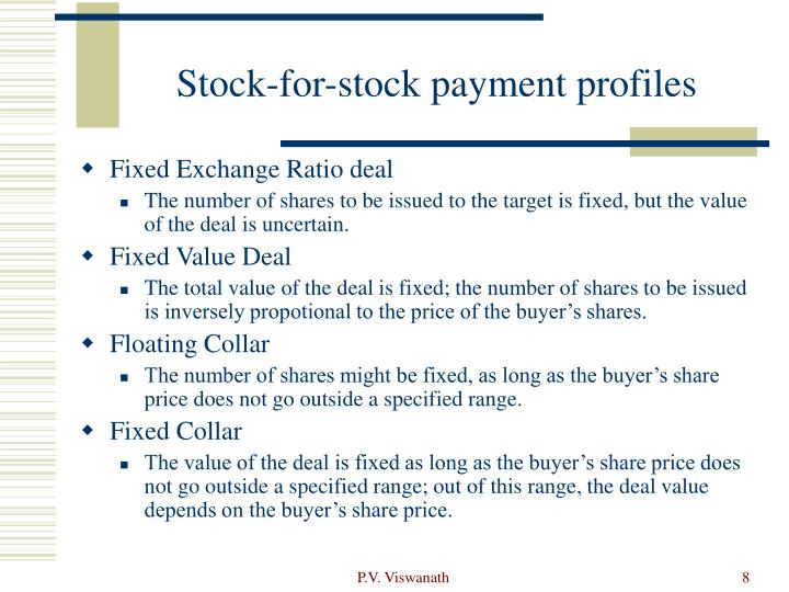 Stock-for-stock payment profiles