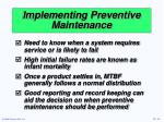 implementing preventive maintenance