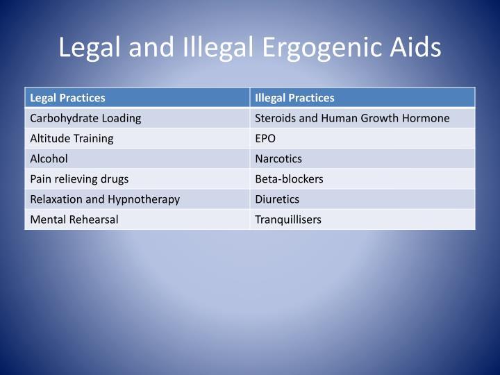 Legal and illegal ergogenic aids
