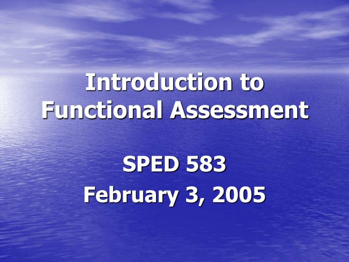 introduction to functional assessment n.