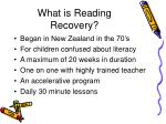 what is reading recovery