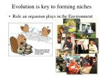 evolution is key to forming niches