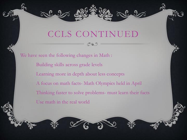 CCLS Continued