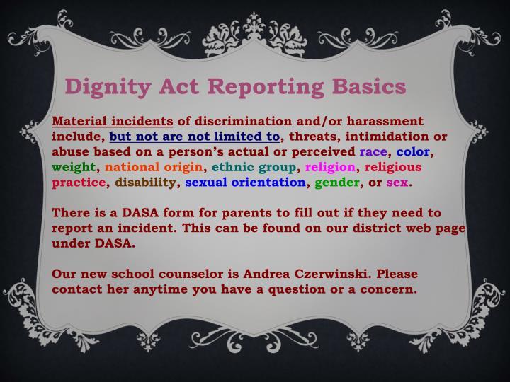 Dignity Act Reporting Basics