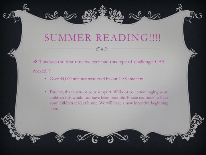 Summer Reading!!!!