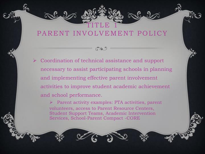 Title 1 parent involvement policy