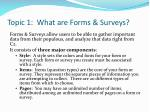 topic 1 what are forms surveys