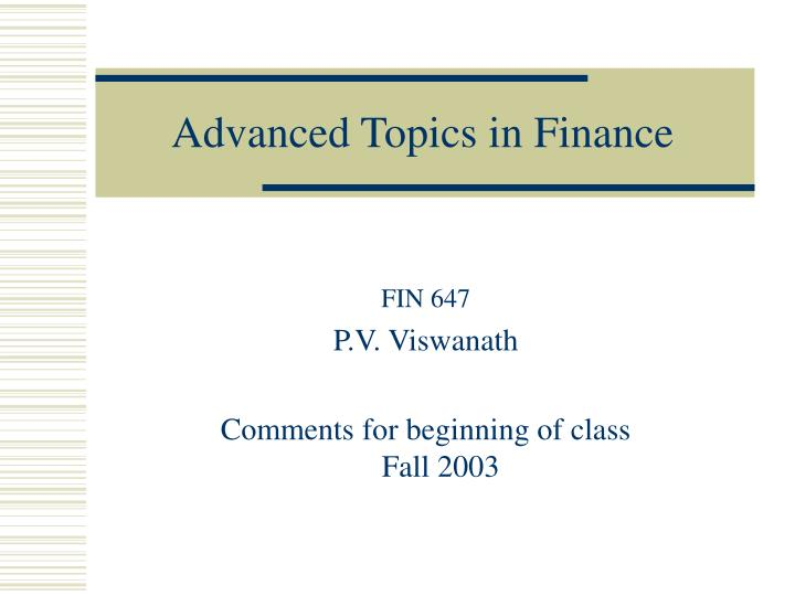 advanced topics in finance n.