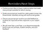 reminders next steps