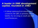 a leader in sme development capital founded in 1983