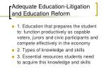 adequate education litigation and education reform