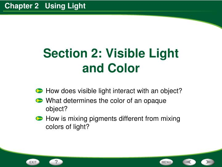 section 2 visible light and color n.
