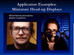 application examples miniature head up displays