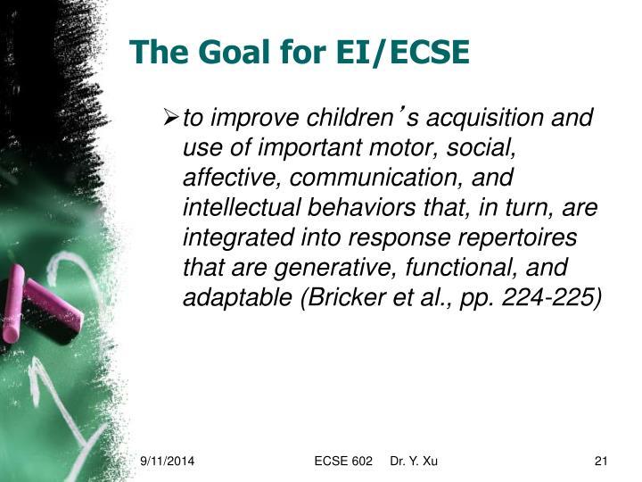 The Goal for EI/ECSE