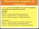 how to form a negative t command1