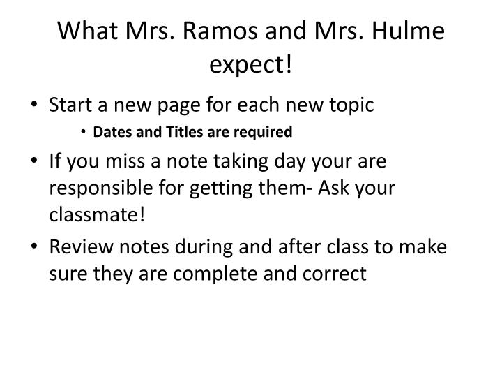 What Mrs. Ramos and Mrs.
