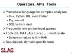 operators apis tools