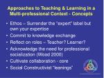approaches to teaching learning in a multi professional context concepts