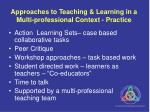 approaches to teaching learning in a multi professional context practice