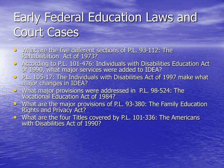 Early federal education laws and court cases