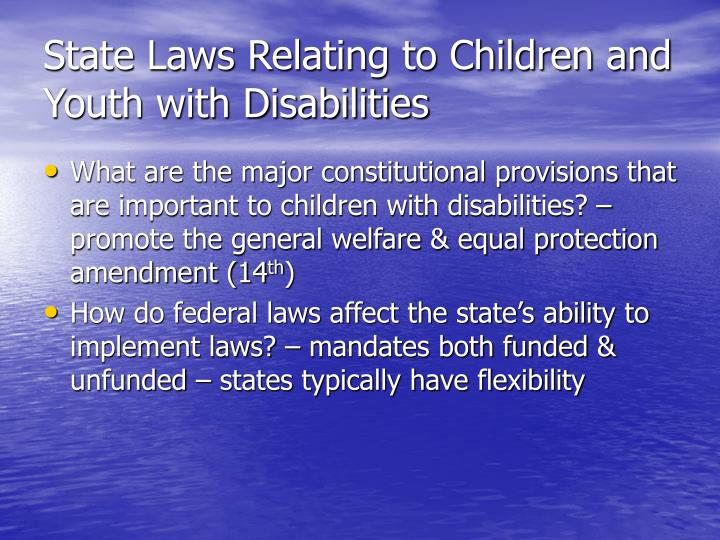State Laws Relating to Children and Youth with Disabilities