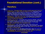 foundational devotion cont therefore