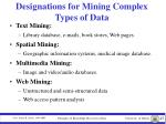 designations for mining complex types of data