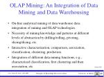 olap mining an integration of data mining and data warehousing