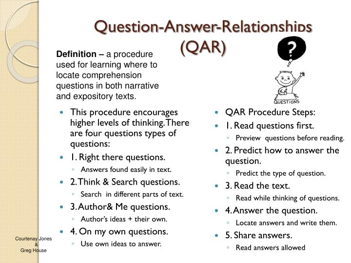 question answer relationships qar n.