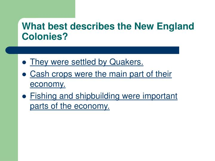 What best describes the New England Colonies?