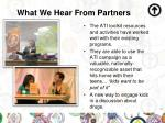 what we hear from partners