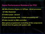 some performance numbers for ps2