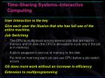 time sharing systems interactive computing
