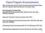 parent program announcements1