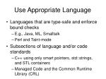use appropriate language
