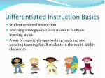 differentiated instruction basics