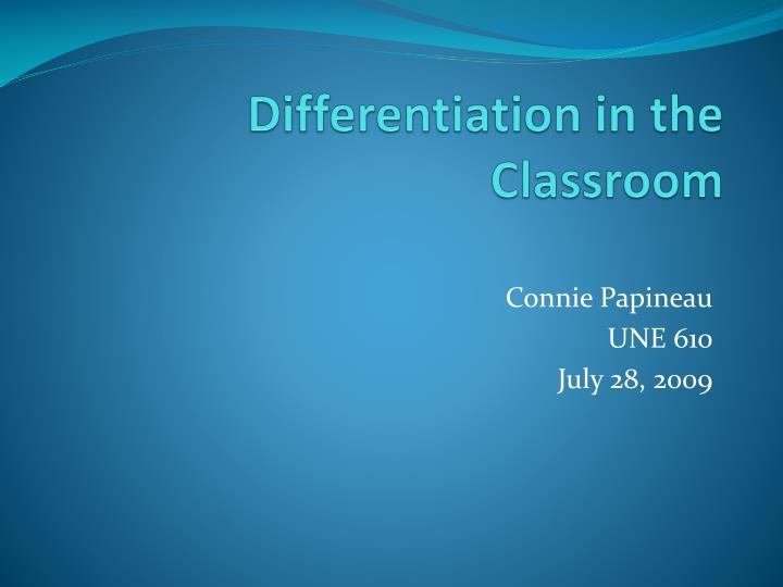 differentiation in the classroom n.