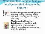 what does the theory of multiple intelligences m i mean to the student