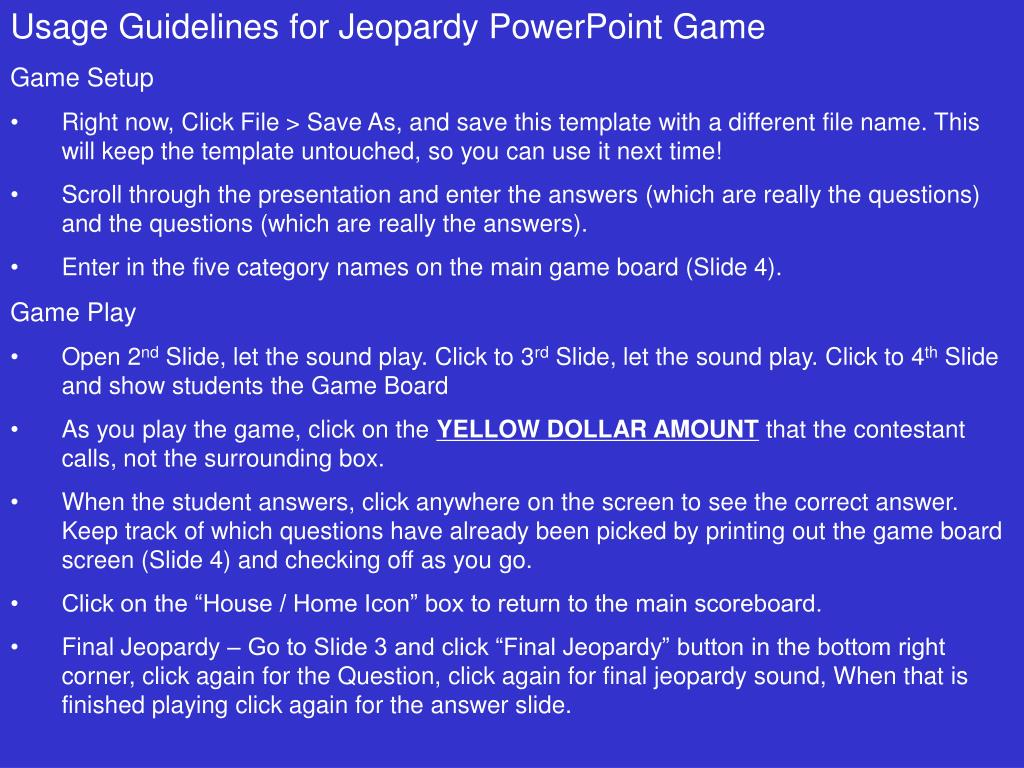 PPT - Usage Guidelines for Jeopardy PowerPoint Game Game