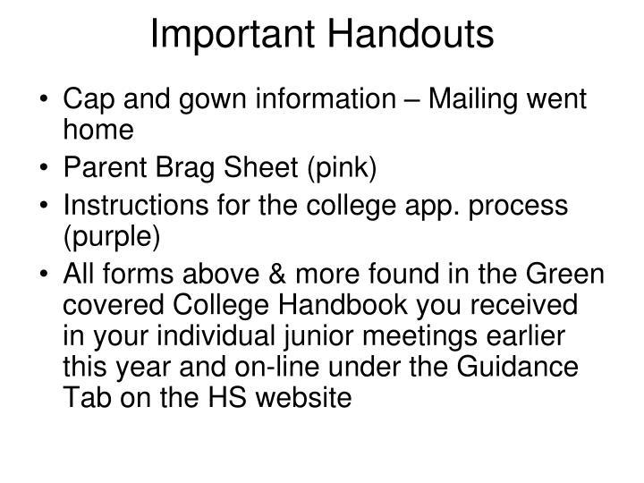 Important handouts