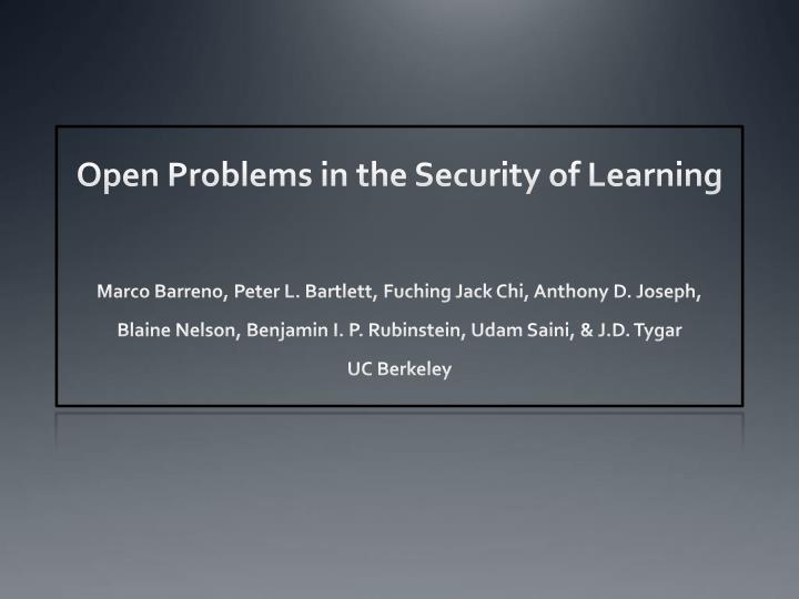 open problems in the security of learning n.