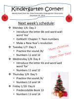 kindergarten c orner weekly news from mt view elementary kindergarten classrooms december 20 2013