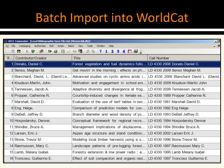 Batch Import into WorldCat