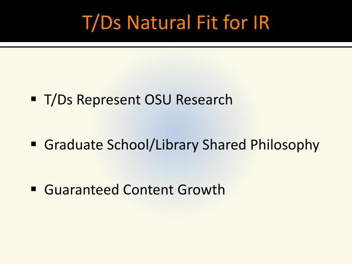 T ds natural fit for ir