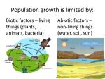 population growth is limited by