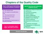 chapters of the quality code