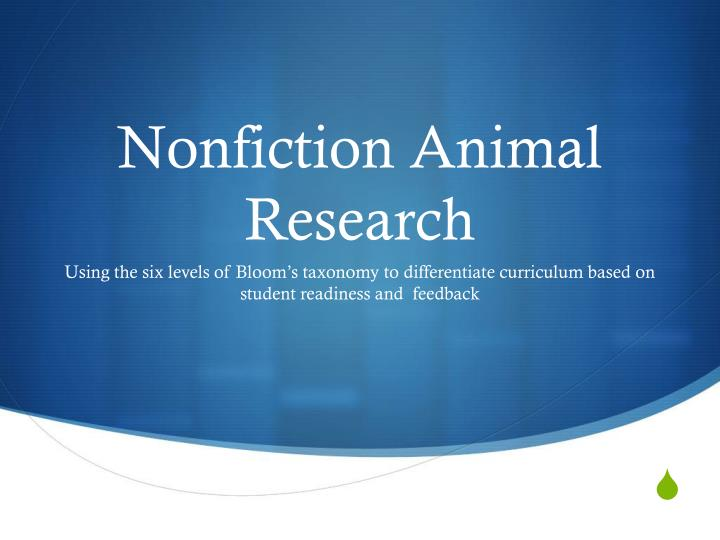 nonfiction animal research n.